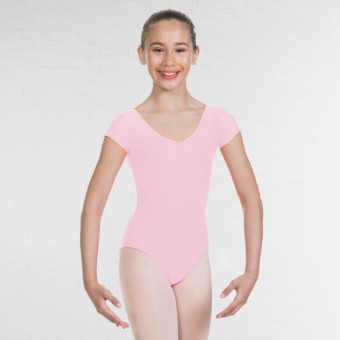 1st Position Alice Cap Sleeved Ruched Leotard (Matt Nylon) (Light Pink)
