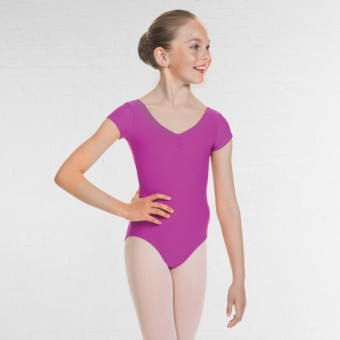 1st Position Alice Cap Sleeved Ruched Leotard (Matt Nylon) (Rose)