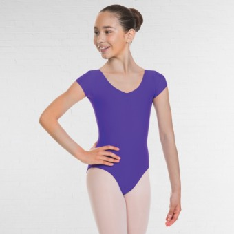1st Position Alice Cap Sleeved Ruched Leotard (Matt Nylon) (Violet)