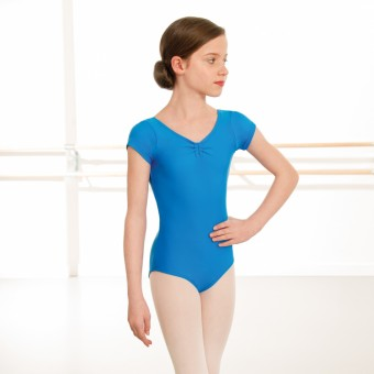 1st Position Alice Cap Sleeved Ruched Leotard (Matt Nylon) (China Blue)