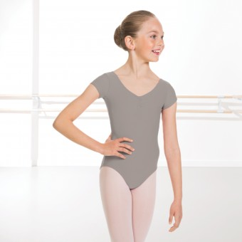 Alice Cap Sleeved Ruched Leotard (Matt Nylon) (Grey)