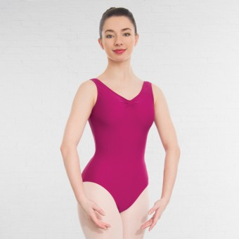 1st Position Helena Ruched Lined Leotard (Matt Nylon) (Rose)