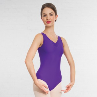 1st Position Helena Ruched Lined Leotard (Matt Nylon) (Violet)