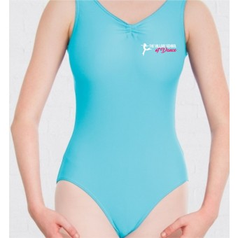 PP *#121009#* 1st Position Helena Ruched Lined Leotard (Matt Nylon) (Aqua) with The Village School Of Dance Logo
