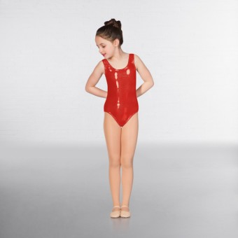 1st Position Laura Metallic Dot Vest Leotard (Red)