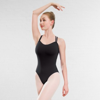 1st Position Rachel Double Strap Cross Back Leotard Cotton (Black)