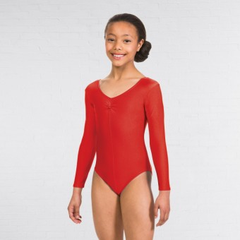 1st Position Karen Ruched Front Long Sleeved Leotard (Red)