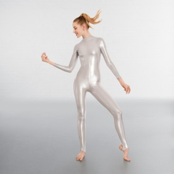 1st Position Toni Silver Long Sleeved Foil Catsuit