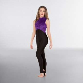 1st Position Melinda Velour High Neck & Keyhole Back Catsuit (Delphinium/Black)