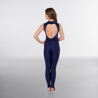 1st Position Melinda Velour High Neck & Keyhole Back Catsuit (Navy Blue)
