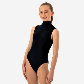 1st Position Jill Polo Neck Sleeveless Leotard (Black)