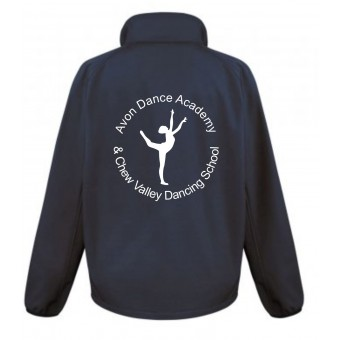 PP *#281164#* Result Core Ladies Printable Soft Shell Jacket (Navy Blue) with Avon and Keyford Dance Logo - AVON and CHEW
