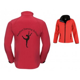 PP *#261110#* Result Core Ladies Printable Soft Shell Jacket (Black/Red) with Avon and Keyford Dance Logo - KEYFORD LOGO