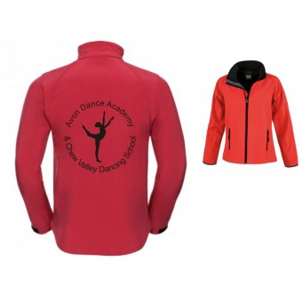PP *#281163#* Result Core Ladies Printable Soft Shell Jacket (Black/Red) with Avon and Keyford Dance Logo - AVON and CHEW