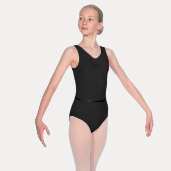 Roch Valley Sleeveless Leotard With Gathered Bustline And Belt (Black)