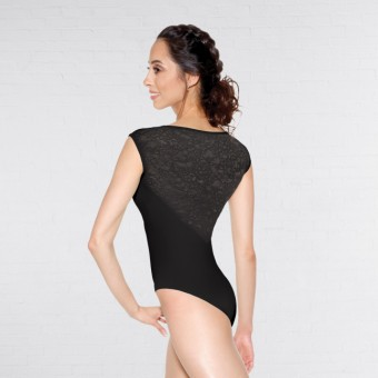 So Danca Leotard with Lace Cap Sleeve (Black)