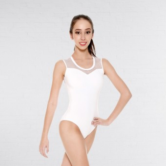 So Danca Fishnet Mesh Leotard (White)
