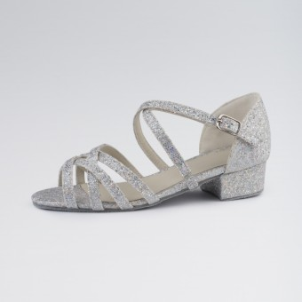 1st Position Ballroom Hologram Shoe X-Straps Low Heel (Silver)