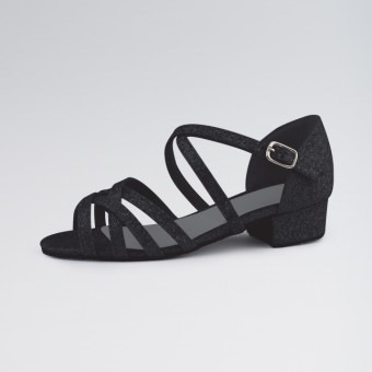 1st Position Ballroom Hologram Shoe X-Straps Low Heel (Black)