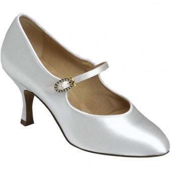 Supadance Round Toe Court Satin Shoe (White)
