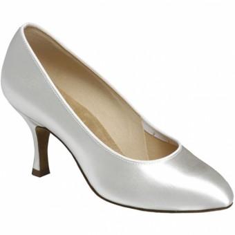 Supadance Round Toe Satin Court Shoe (White)