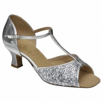 Supadance Classic Latin T-Bar Sparkle Sandal (Wide Width) (Silver)