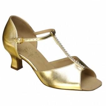 Supadance Classic Latin T-Bar Coag Sandal (Wide Width) (Gold)