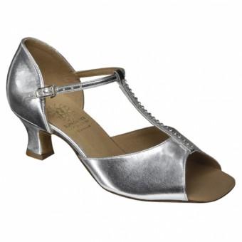 Supadance Classic Latin T-Bar Coag Sandal (Wide Width) (Silver)