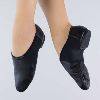1st Position Split Sole Stretch Jazz Shoe (Black)