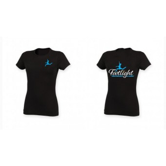 Skinnifit The Feel Good Stretch T-Shirt (Black) with Footlight Performance Academy Logo