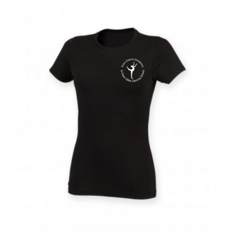 PP *#281162#* Skinnifit The Feel Good Stretch T-Shirt (Black) with Avon and Keyford Dance Logo - AVON and CHEW