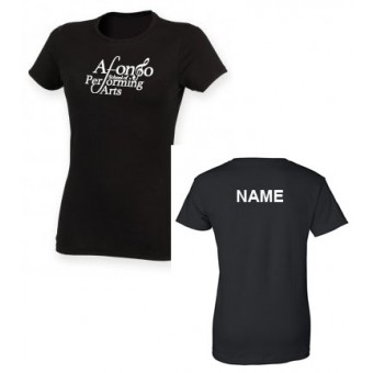 Skinnifit The Feel Good Stretch T-Shirt (Black) Personalised with Individual Names and Afonso School of Performing arts Logo