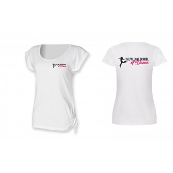 PP *#121004#* Skinnfit Slounge T-Shirt (White) with The Village School Of Dance Logo