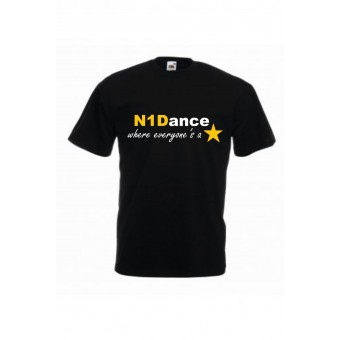 PP *#041040#* Fruit of the Loom Kids Value T-Shirt (Black) with N1 Dance Logo