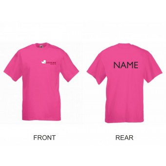 PP *#426437#* Fruit of the Loom Value T-Shirt (Fuchsia) with Duckegg Theatre Company Logo + name