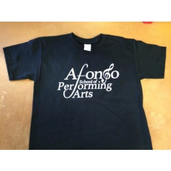 Child T-shirt in Black printed with the Afonso School of Performing Arts Logo