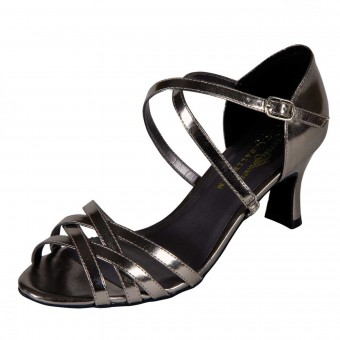 Naomi Pewter Metallic PU Strappy Sandal with Cross-Over Instep