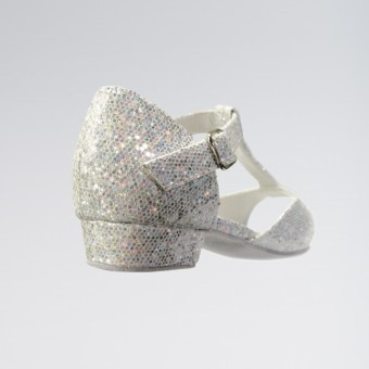 Chelsea Sparkling Silver and White Multi Hologram Childrens Ballroom Shoe