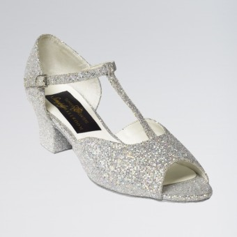 Chloe Glittering Silver and White Multi Hologram Ballroom Shoe Cuban Heel 1.5