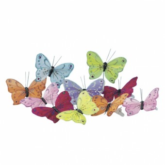 Pack of 12 Butterfly Clips - Glitter