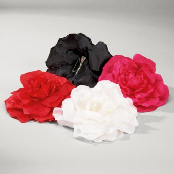 Large Fabric Rose on Clip and Pin Black
