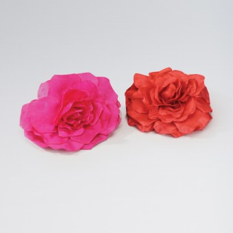 Large Fabric Rose on Clip and Pin Red