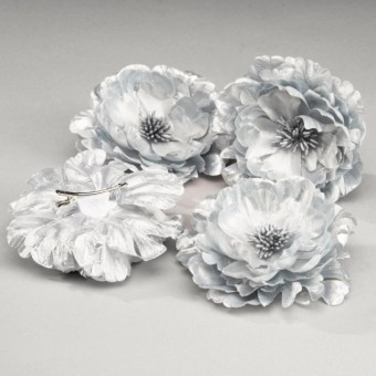 Silver Corsage Flower on Clip