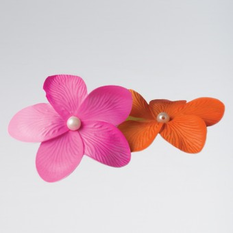 Pearl Centre Flower Clip Orange