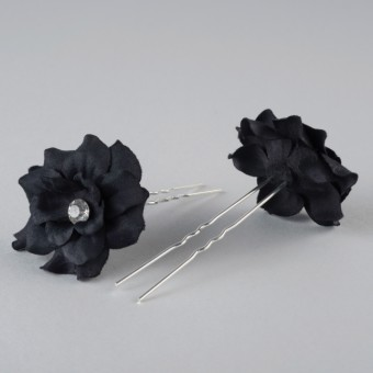 Fabric Flower Hairpins Pair Black