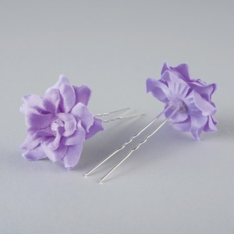Fabric Flower Hairpins Pair Lilac