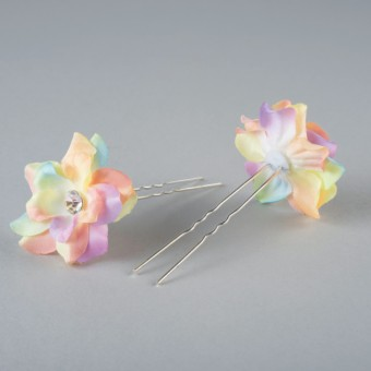 Fabric Flower Hairpins Pair Rainbow