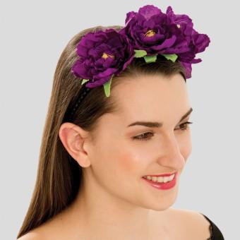 Purple Triple Flower on Elastic