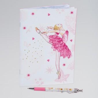 Weiches Notizbuch in Rosa mit Ballerina