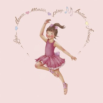 Little Ballerina Heart Amelia card
